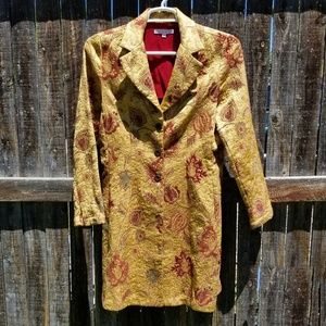 CAbi Gold Flowers Brocade Long Trench Coat 10